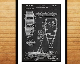 Canoe/Kayak Patent Canoe Poster Canoe Blueprint Canoe Print Canoe Art Canoe Decor p070