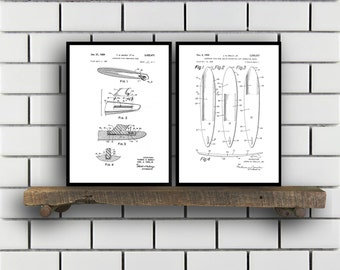 Surfing Related Patent Set of TWO Surfing Invention Patent Wetsuit Poster Surfboard Print Surf Patent Surf Inventions SP140