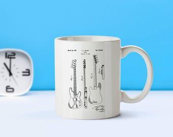 Bass Guitar patent mug  coffee mug  coffee lover  patent art  patent mug  Fender Bass Guitar Musician Gift Musical InstrumentsM91