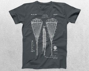 Lacrosse Stick Patent T-Shirt, Lacrosse Stick Blueprint, Patent Print T-Shirt, Lacrosse Player Shirt, Lacross Mom Sports Shirt p836