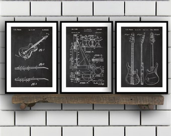 Rock n Roll Patent Set of 3,  Rock n Roll  Patent, Music Instrument Prints, Rock n Roll  Gifts, Musician Wall Decor, Music Wall Art SP208