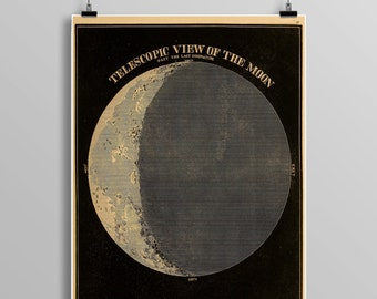 Telescopic view OF THE MOON, constellations, Celestial Maps, Vintage Moon, Vintage planets, Telescope, Planets, Astronomy Illustration 461