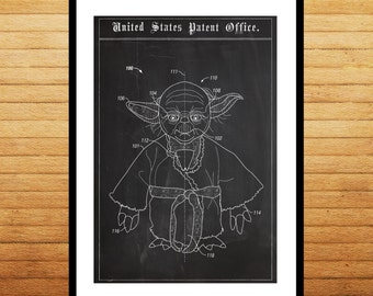 Star Wars Patent Yoda Poster Yoda Print Yoda Art Yoda Decor Yoda Wall Art Yoda Blueprint p1410