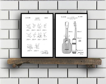 Folk Music Related Patent Set of TWO Banjo Pick Ukulele Invention Patent Ukulele Poster Ukulele Print Folk Instrument Inventions SP196