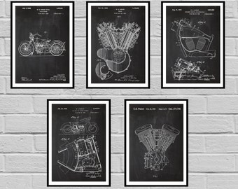 Harley Davidson Patent Set of 5 motorcycle prints Harley Poster  Harley Davidson Motorcycle  Harley Engine  Harley  Motorcycle sp432