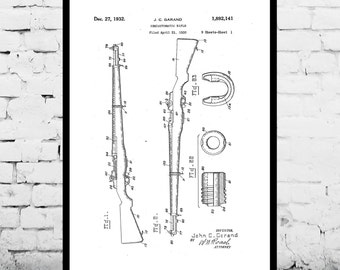M-1 Rifle Patent M-1 Rifle Print M-1 Rifle Poster  M-1 Rifle Art M-1 Rifle Wall Art M-1 Rifle Patent M-1 Rifle Fan Art p1260