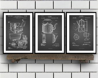 Kitchen Inventions Patent Prints - Set Of 3 - Coffee Pot - Tea Kettle - Kitchen Mixer - Kitchen Appliance sp22