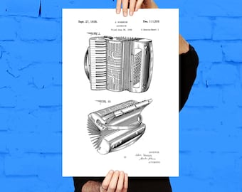 Accordion Patent, Accordion Poster, Accordion Print, Accordion Art, Accordion Decor, Accordion Blueprint, Accordion Musical Instrument p371