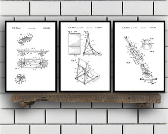 Skateboard Patents Set of 3 Prints Skateboard Prints Skateboard Posters Skateboard Blueprints Skateboard Art Skateboard Wall Art Sp405