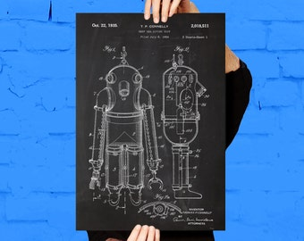 Deep Sea Diving Suit Print Deep Sea Diving Suit Poster Deep Sea Diving Suit Patent Deep Sea Diving Suit Art Deep Sea Diving Decor p381