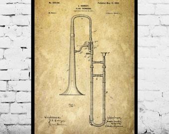 Trombone Poster, Slide Trombone Print, Slide Trombone Patent, Slide Trombone Art, Slide Trombone Blueprint, Slide Trombone Decor p019