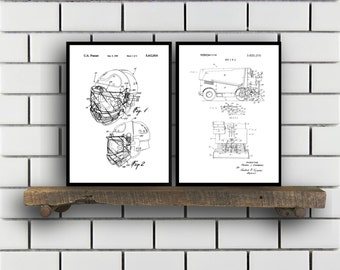 Hockey Patents Set of 2 Prints Hockey Prints Hockey Posters Hockey Blueprints Hockey Art Hockey Wall Art Sport Prints Sport Art Sp297
