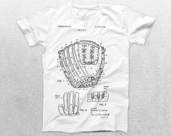 Baseball Glove Patent T-Shirt, Baseball Glove Blueprint, Patent Print T-Shirt, Baseball Player Shirt, Baseball Coach Sports Shirt p415
