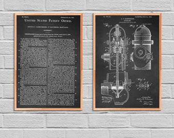 Fire Hydrant Patent Fire Hydrant Poster Fire Hydrant Print Fire Hydrant Art Fire Hydrant Decor Fire Hydrant Blueprint fireman 2P44