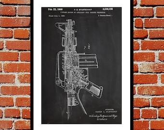 M-16 Rifle Print M-16 Rifle Poster M-16 Rifle Patent M-16 Rifle Art M-16 Rifle Decor M-16 Rifle Wall Decor M-16 Rifle Blueprint p198