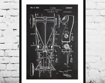 Ford Engine Chassis, Ford Engine,  Engine Chassis Patent, Internal Combustion Engine Poster, Internal Combustion Engine Art, Engine p1112