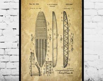 Surf Blueprint Patent Poster, Wall Art Poster, Surf Print, Wall Art Poster, Surf board, Patentprints, Surfboard Patent, Surfing art p042