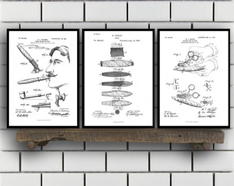 Cigar and Smoking Invention Poster - 3 PACK set,  Cigar Patent, Cigar Prints, Cigar Gifts, Cigar Art, Cigar Wall Decor, Cigar Wall Art SP202