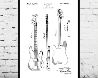 Fender Electric Bass Guitar Poster, Fender Electric Guitar Patent, Fender Guitar Print, Fender Electric Guitar Decor, Fender p771