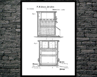 Bee Hive Patent Bee Hive Poster Bee Hive Print Bee Hive Art Bee Hive Decor Bee Hive Blueprint p462