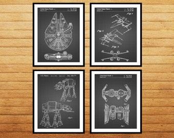 Star Wars patent Millennium Falcon patent art patent 4 pack Star Wars Poster Star Wars Patent Millennium Falcon Star Wars Print SP538