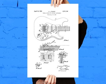 Fender Electric Guitar Poster, Fender Electric Guitar Patent, Fender Guitar Print, Fender Electric Guitar Decor, Fender p1441
