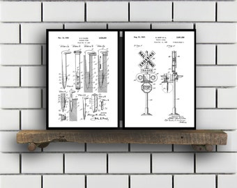 Train Patents Set of 2 Prints Train Prints Train Posters Train Blueprints Train Art Train Wall Art Train Prints Train Art Sp324