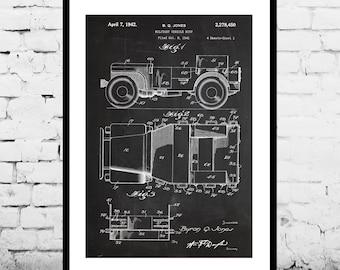 War Vehicle, Military Vehicle Poster, Jeep Patent, Military Willy's Jeep Print, Military Vehicle Art, Military Vehicle Decor, War p1174