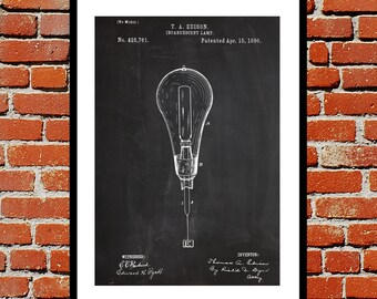 Light Bulb Print Light Bulb Poster Light Bulb Patent Light Bulb Decor Light Bulb Art Light Bulb Blueprint Light Bulb Wall Art p09