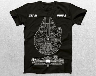 Star Wars Millenium Falcon Patent T-Shirt, Millenium Falcon Blueprint, Star Wars T-Shirt, Star Wars Gifts, p1421