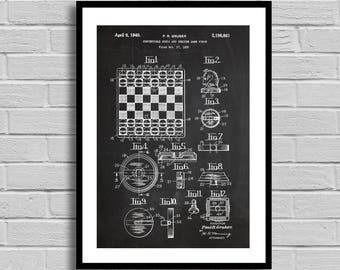 Chess and Checkers Game Set Patent, Game Set Patent Poster, Game Set Blueprint, Game Set Print, Board Games, Game Decor, Gamer Gift, p1191