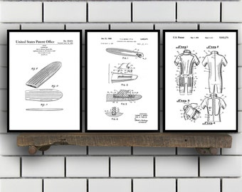 Surfing Related Patent Set of THREE, Surfing Invention Patent, Wetsuit Poster, Surfboard Print, Surf Patent, Surf Inventions SP139