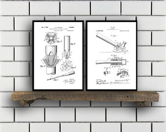 Tool Patent Prints Set of TWO Tools Patents Tools Carpenter tool Inventions Woodworking tool Decor Mancave Carpenter tools SP393