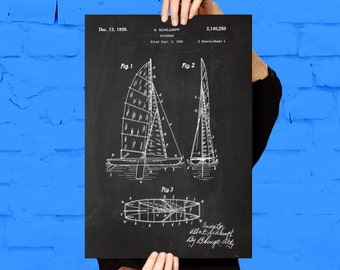1936 Sailboat Print Sailboat Poster Sailboat Patent Sailboat Decor Sailboat Art Sailboat Wall Art Sailboat Blueprint p354