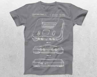 Nintendo 64 Patent T-Shirt, Nintendo 64 Blueprint, Patent Print T-Shirt, Nintendo 64 Shirt, Gaming Gifts, Nintendo Game p220