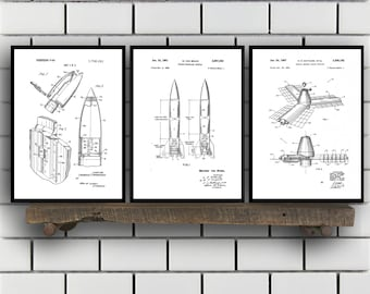 Space Patents Set of 3 Prints, Space Prints, Space Posters, Space Blueprints, Space Art, Space Wall Art, Space Prints, Space Art Sp330