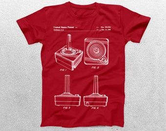 Atari Controller Patent T-Shirt, Atari Controller Blueprint, Patent Print T-Shirt, Gaming Gifts, Atari Game, Video Game Shirt p1178