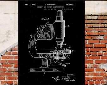 Vintage microscope Microscope Medical equipment Art Black and White Patent print p655