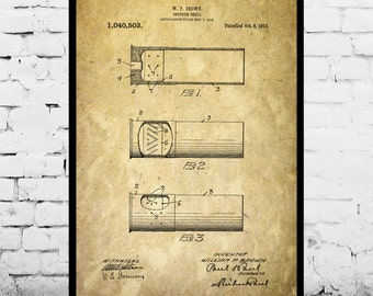 Shotgun Shell Print Shotgun Shell Patent Shotgun Shell Art Artillery Shell Decor Shotgun Art Shotgun Wall Art  p263