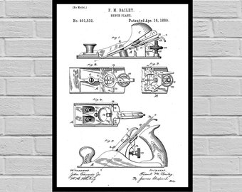 Bench Wood Planer patent Patent Prints Wall Decor Bench Wood Planes Patent Poster Tool Art Unique Gifts for Dad Wall Decor Woodworking sp768