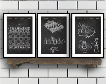 Chess Invention Poster - 3 PACK set,  Chess Patent, Chess Prints, Chess Gifts, Chess Art, Chess Wall Decor, Chess Wall Art SP198