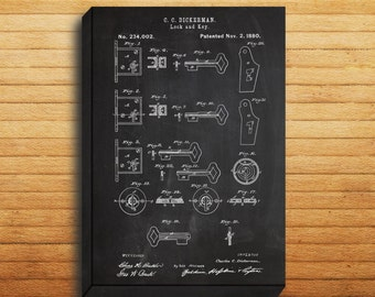 CANVAS  Lock and Key Patent Lock and Key Poster Lock and Key Blueprint Lock and Key PrintLock and Key ArtLock and Key Decor p195
