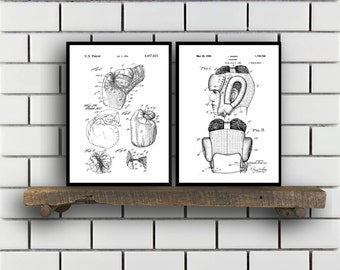 Boxing Patent Prints Boxing Set of TWO Boxing Invention Patent Boxing Poster Boxing Print Boxing Boxing Bag SP261