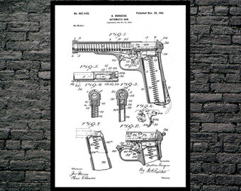 Automatic Firearm Art Automatic Firearm Patent Automatic Firearm Print Automatic Firearm Poster Gun art p1226