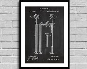 Dental Mirror Patent Dental Mirror Patent Poster Dental Mirror Blueprint Dental Mirror Print Dentist Gift Hygienist Gift Office Decor p518