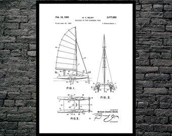 Sailboat Catamaran Patent Sailboat Catamaran Poster Catamaran Blueprint Catamaran Print Catamaran Art Catamaran Decor Nautical Decor p416
