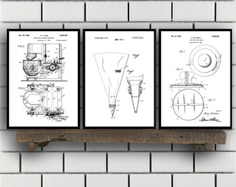Baking Patent Poster set of 3 - Cake Mold - Mixing Bowl Poster - Icing Bag - Kitchen Patent - Kitchen Wall Art - Kitchen SP89