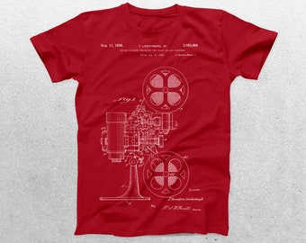 Motion Picture Camera Patent T-Shirt, Camera Blueprint, Patent Print T-Shirt, Movie Gift, Fan Gift, Vintage Art, Cool Gifts p18