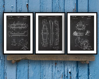 Canoe Patent Prints - Set of 3 - Canoe Patent, Canoe Poster, Canoe Blueprint, Canoe Print, Canoe Art, Canoe Decor sp32
