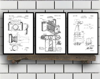 Camera Patent Prints, Camera Set of THREE, vintage Camera Invention Patent, Camera Poster, Camera Print, Camera, Camera Bag SP266